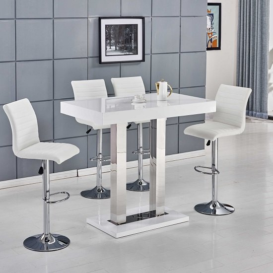 White Bar Table And Stools: Caprice Bar Table In White High Gloss With 4 Ripple Bar