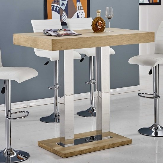 Caprice Bar Table Rectangular In Oak And Stainless Steel Support_1
