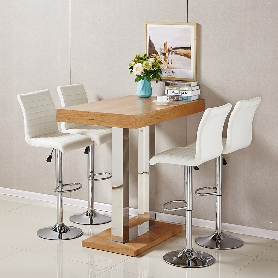 Caprice Bar Table In Oak With 4 Ripple White Bar Stools