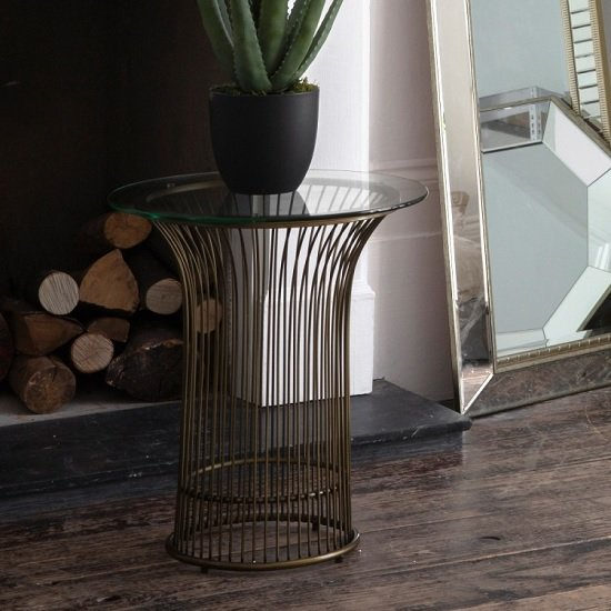 Caprico Contemporary Glass Side Table In Clear With Bronze Frame