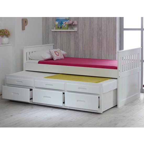 Captains Wooden Storage Single Bed With Guest Bed In White_2