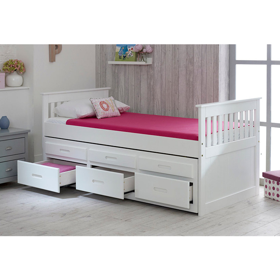 Captains Wooden Storage Single Bed With Guest Bed In White_3