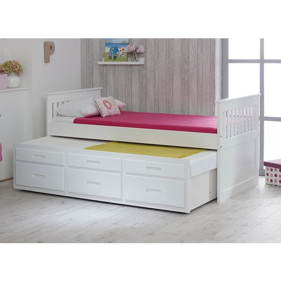 Captains Wooden Storage Single Bed With Guest Bed In White_4