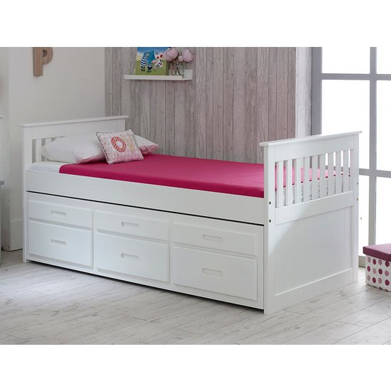 Captains Wooden Storage Single Bed With Guest Bed In White_1