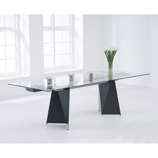 Captiva Extending Glass Dining Table With Matt Grey Metal Legs