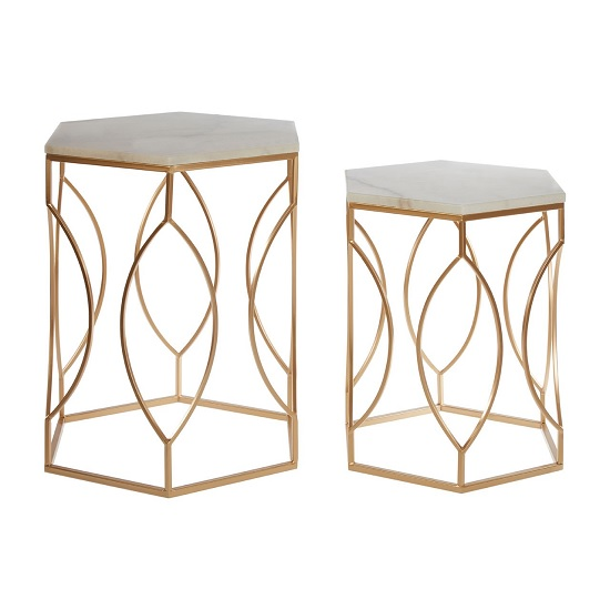 Cara Set Of 2 Marble Side Tables With Gold Finish Frame