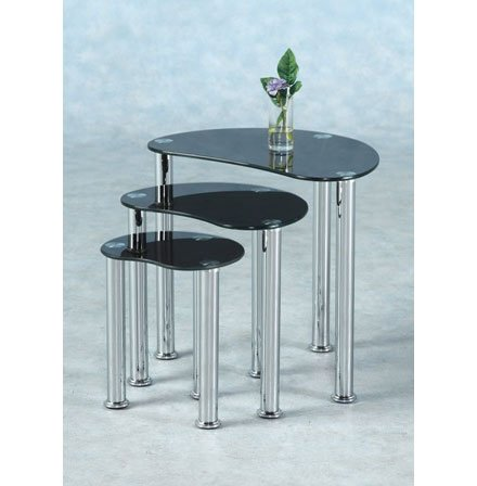 Katerina Nest of 3 Tables in Black Glass
