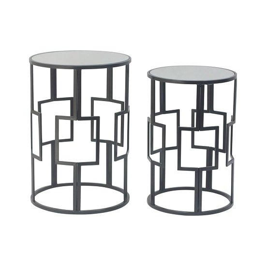 Cara Mirrored Glass Set Of 2 Accent Tables In Black Iron