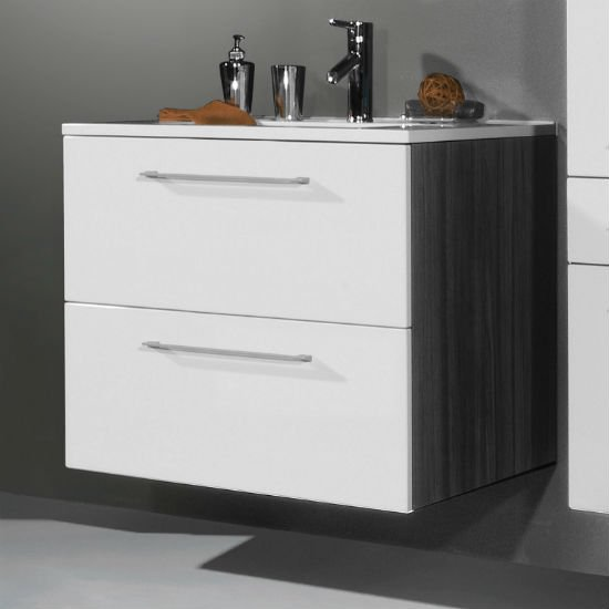 Juliana Bathroom Vanity Cabinet in Carbon Ash Gloss White