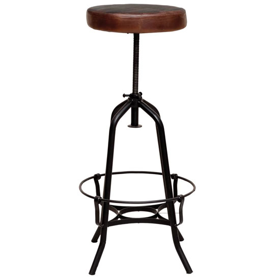 Cardiff Bar Stool In Brown Faux Leather With Black Metal Base_3