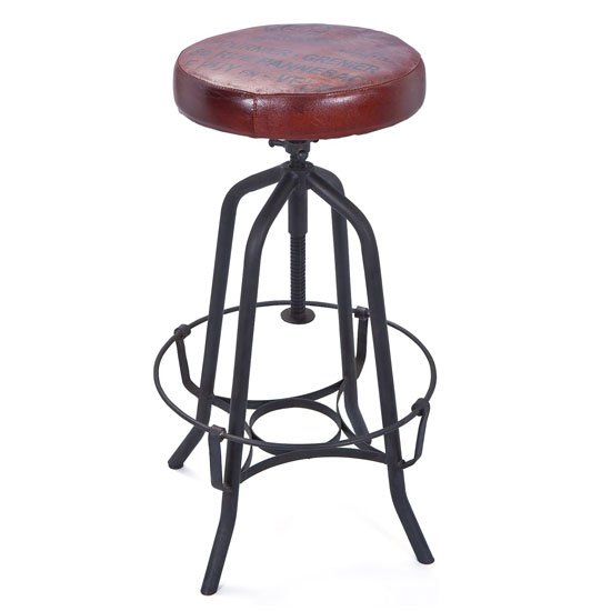 Cardiff Bar Stool In Brown Faux Leather With Black Metal Base_1
