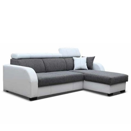 Cardiff Corner Sofa Bed In White Faux Leather And Grey Fabric