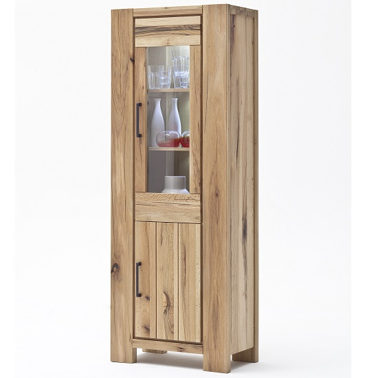 Sussex Display Cabinet Solid Wild Oak Left Side With Led Light