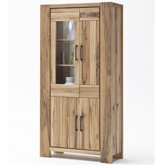Sussex Display Cabinet Wild Oak Glass Door And Led Lights