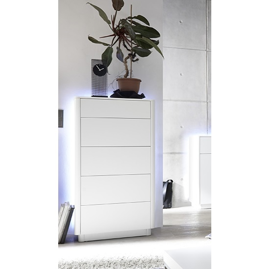 Cardinal Contemporary Chest Of Drawers In Matt White With LED_1