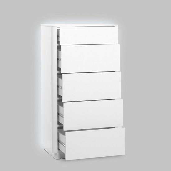 Cardinal Contemporary Chest Of Drawers In Matt White With LED_2