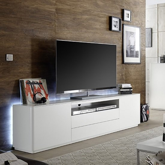 Image of Cardinal Modern TV Stand Wide In Matt White With 2 Doors And LED