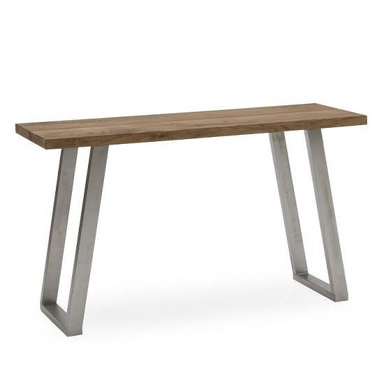 Carey Wooden Console Table In Oak With Stainless Steel Legs