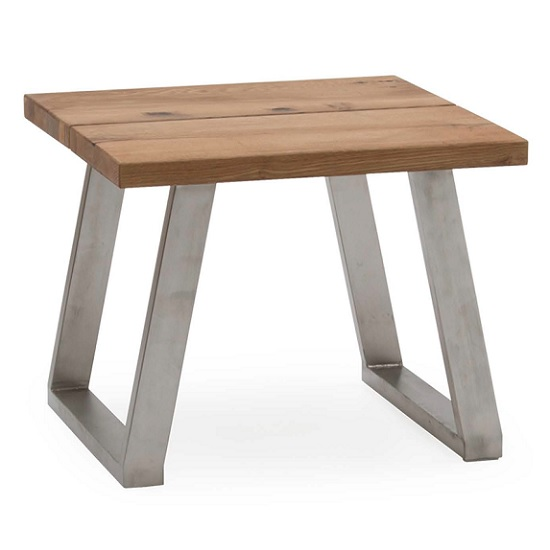 Carey Wooden Lamp Table In Oak With Stainless Steel Legs