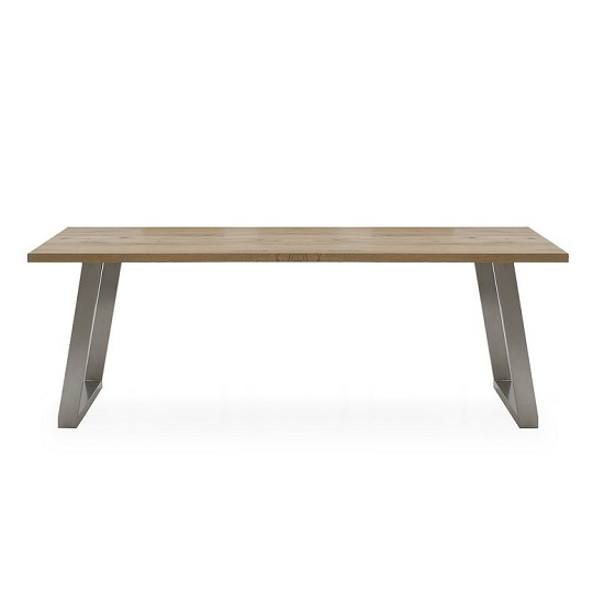 Carey Wooden Dining Table In Oak With Stainless Steel Legs