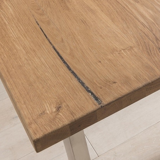 Carey Wooden Dining Table In Oak With Stainless Steel Legs_2