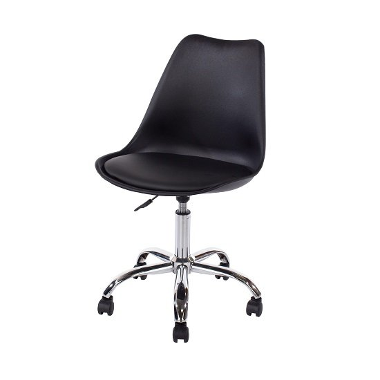 Cargo Office Chair In Black With Chrome Base