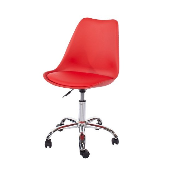 Cargo Office Chair In Red With Chrome Base