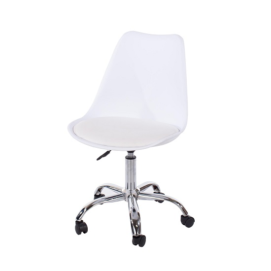 Cargo Office Chair In White With Chrome Base