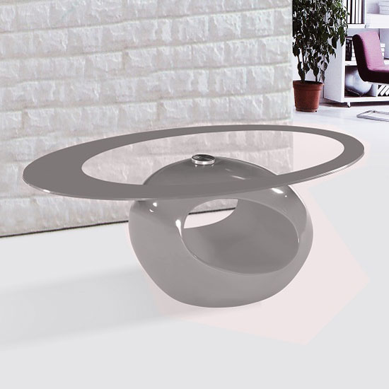 Cairo oval glass coffee table in mink grey border and gloss for Oval glass coffee table