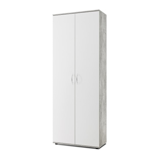 Carla Multifunctional Cupboard In White And Concrete Structured