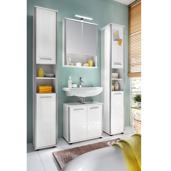 Carla Bathroom Set 1 In White With High Gloss Fronts And LED
