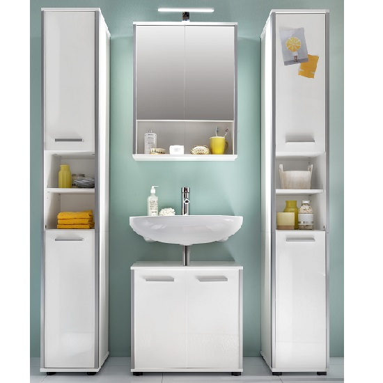 carla right bathroom cabinet in white with high gloss