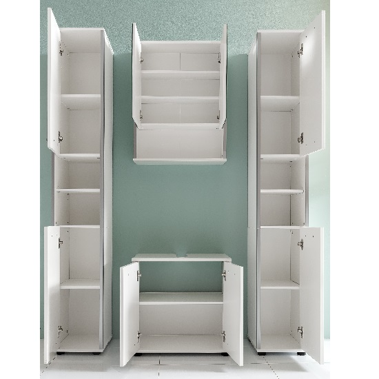 cabinets carla right bathroom cabinet in white with high gloss fronts