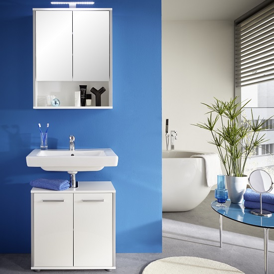Carla Bathroom Set In White With High Gloss Fronts And LED