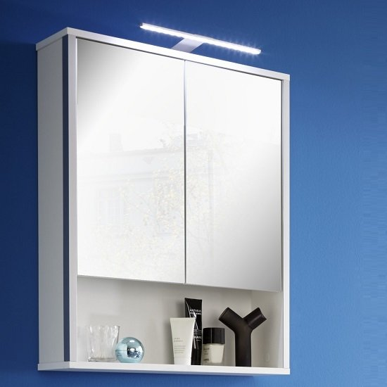 Carla Mirrored Wall Cabinet In White And High Gloss Fronts LED
