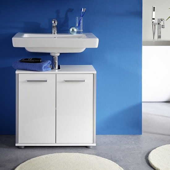 carla vanity cabinet in white with high gloss fronts 28903