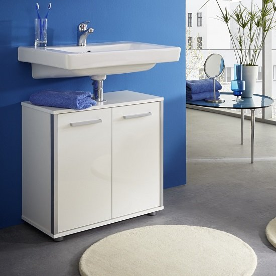 Carla Vanity Cabinet In White With High Gloss Fronts