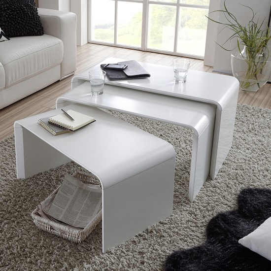 Carlene Wooden Nest Of Tables In Matt White