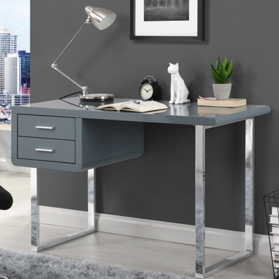 View Carlo computer desk in high gloss grey with chrome legs