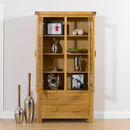 Carlotta Wooden Display Cabinet In Oak With 2 Doors