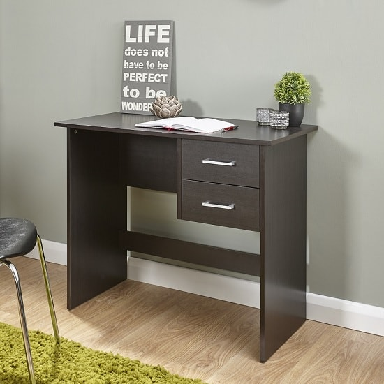 Carlow Wooden Computer Desk In Espresso With 2 Drawers