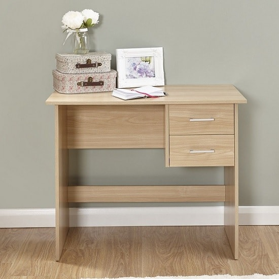 Carlow Wooden Computer Desk In Oak With 2 Drawers_2