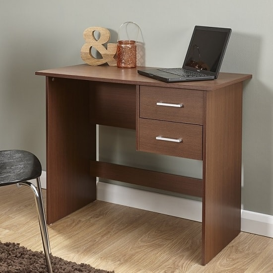 Carlow Wooden Computer Desk In Walnut With 2 Drawers_1