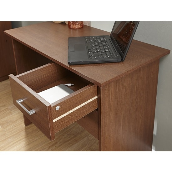 Carlow Wooden Computer Desk In Walnut With 2 Drawers_2