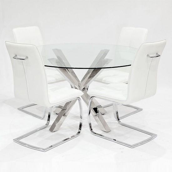 Carlow Glass Dining Table Round In Clear With 4 White Chairs