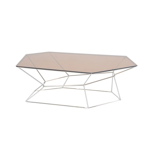 Carlson Glass Coffee Table Hexagonal With RoseGold Frame