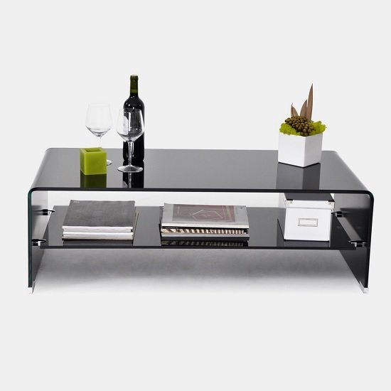 Carlton Coffee Table Rectangular In Black Glass With Undershelf