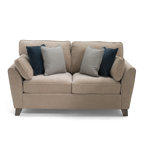 Image of Carmela Fabric 2 Seater Sofa In Almond With Wooden Legs