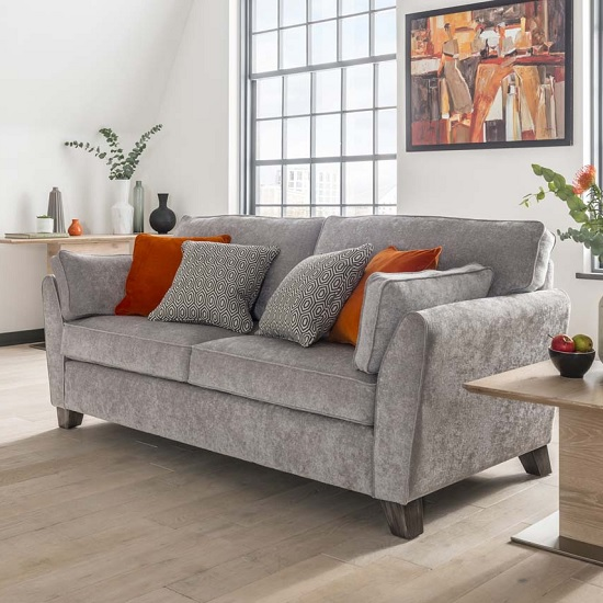 Image of Carmela Fabric 2 Seater Sofa In Silver With Wooden Legs