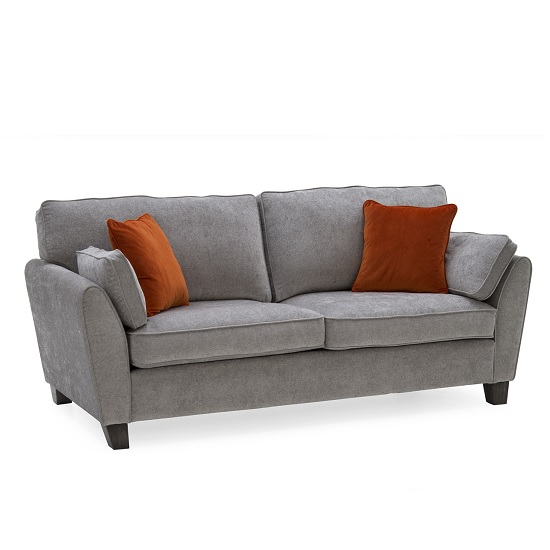Image of Carmela Fabric 3 Seater Sofa In Silver With Wooden Legs